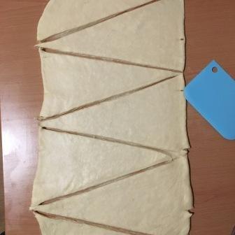 dough cut in triangles