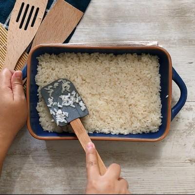 rice in baking dish