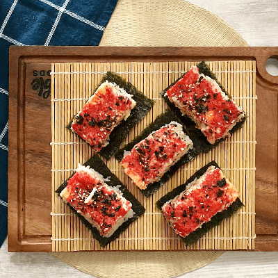 sushi bake on top of board