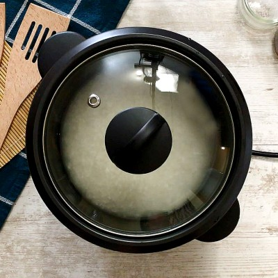 rice cooking in rice cooker