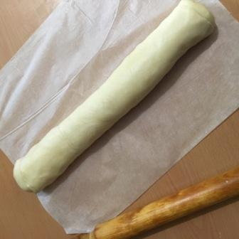 dough rolled to log