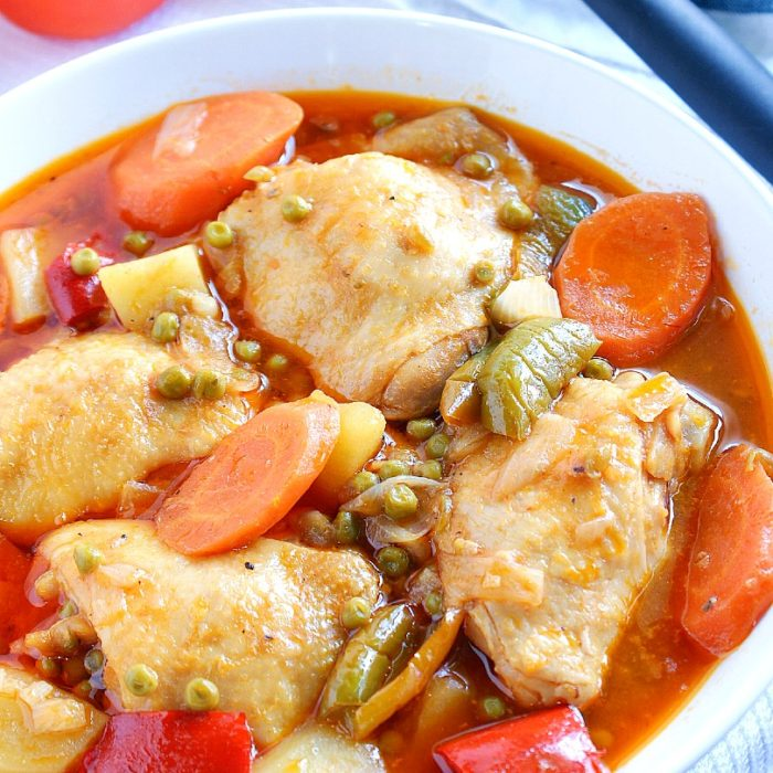 chicken afritada with potatoes and carrots