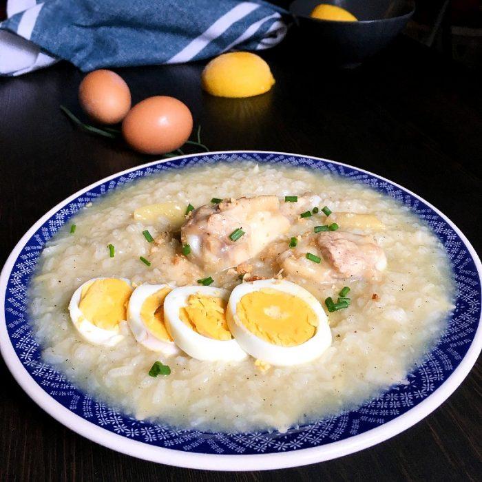 arroz caldo in a bowl with eggs