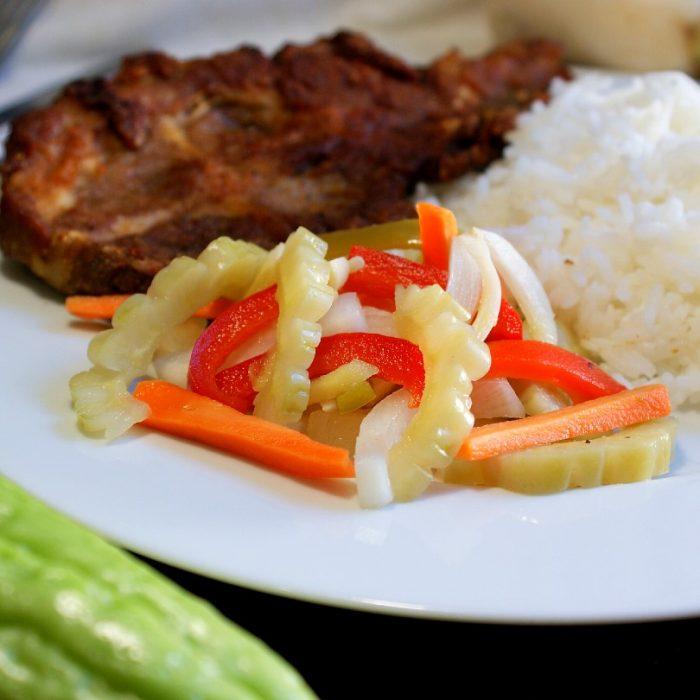 atcharang ampalaya with pork chops