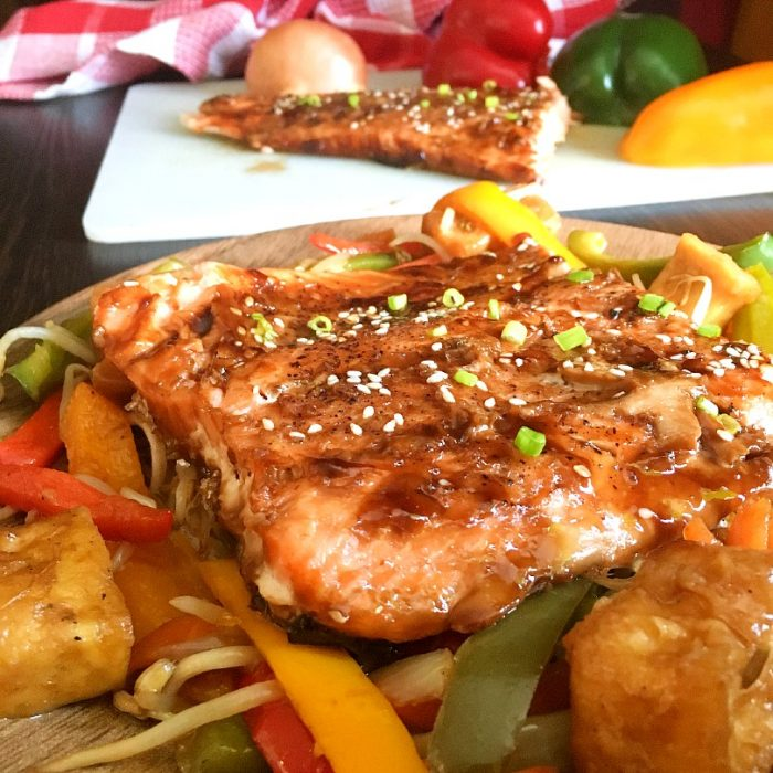 salmon teriyaki on sauteed veggies