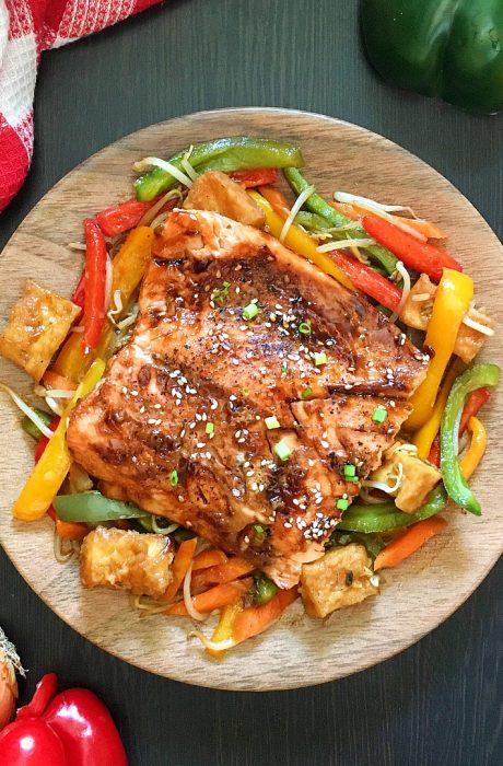 teriyaki salmon on plate