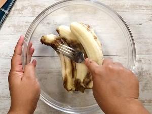 mashing bananas with a fork