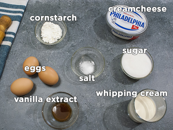 ingredients for basque burnt cheesecake on a table