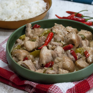 pork in coconut milk with chilies and shrimp paste