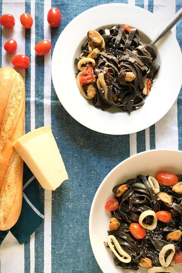 seafood and black pasta