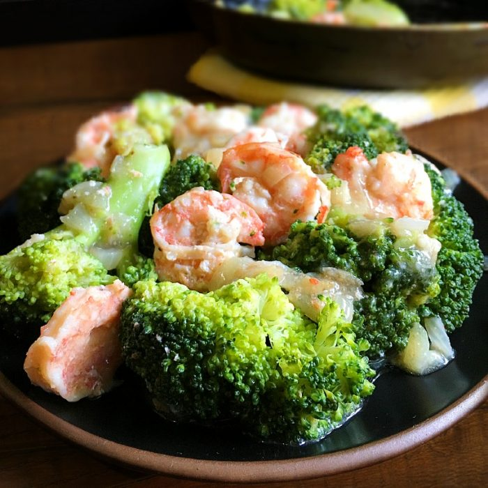broccoli and shrimps on a plate