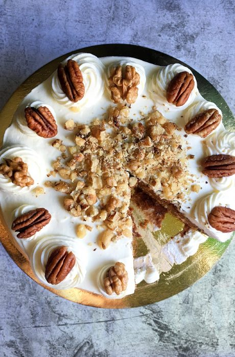 carrot cake on top of table