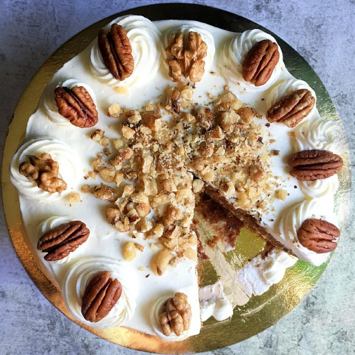 carrot cake on a cake board