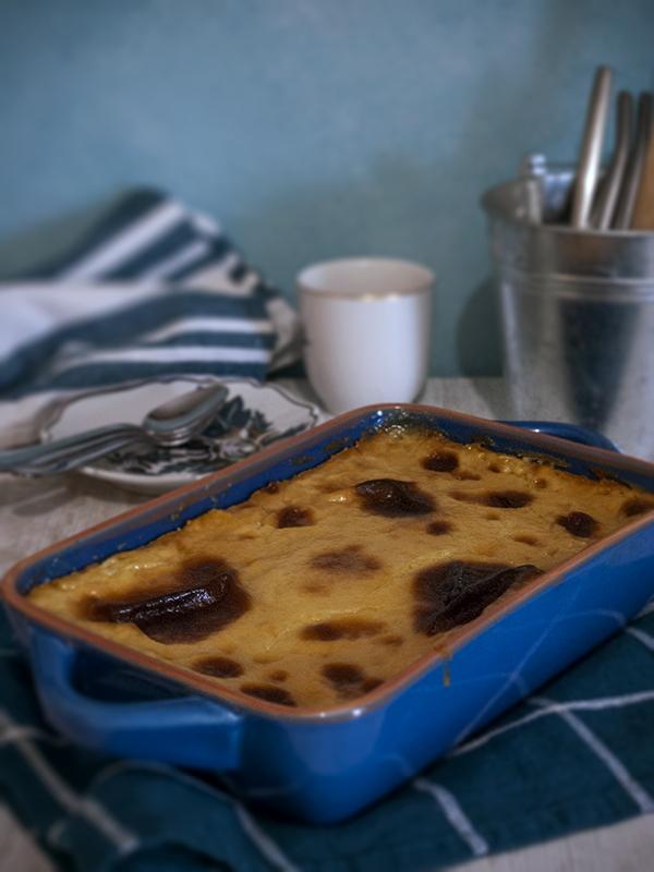 cassava cake in baking dish