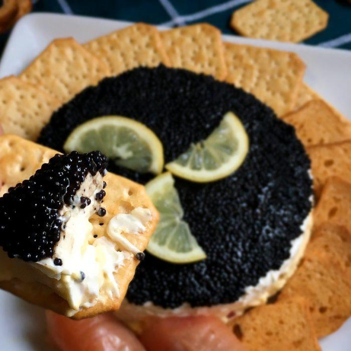 caviar pie on a cracker