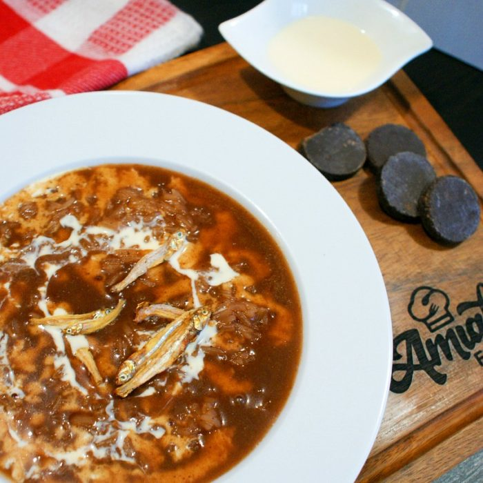 champorado with dried anchovies