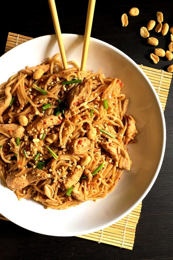 charlie chan pasta with chopsticks