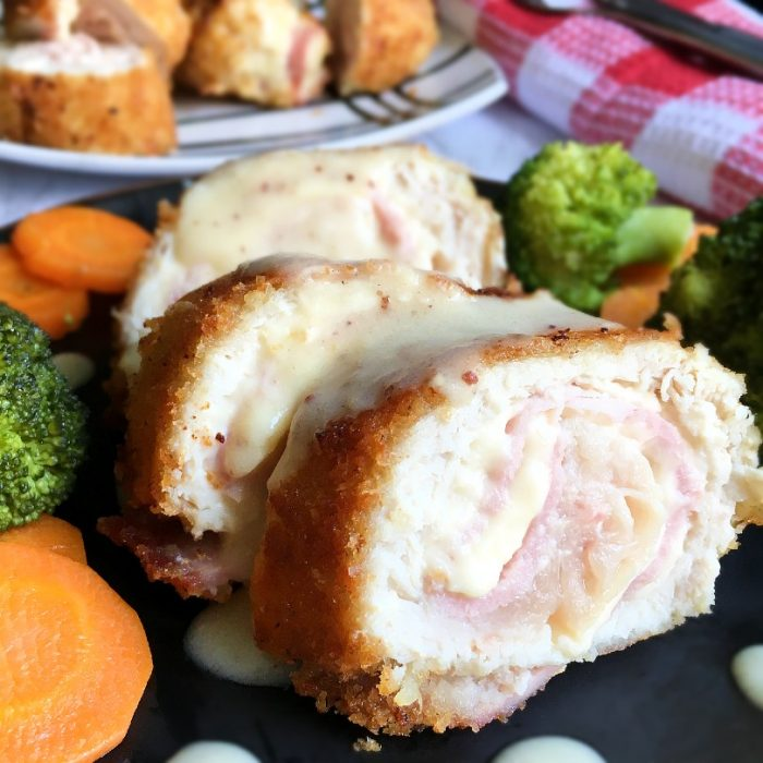 chicken cordon bleu on plate