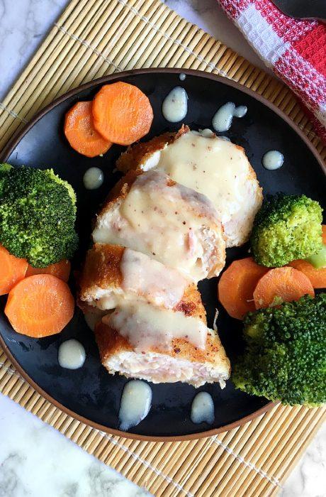 chicken cordon bleu on table