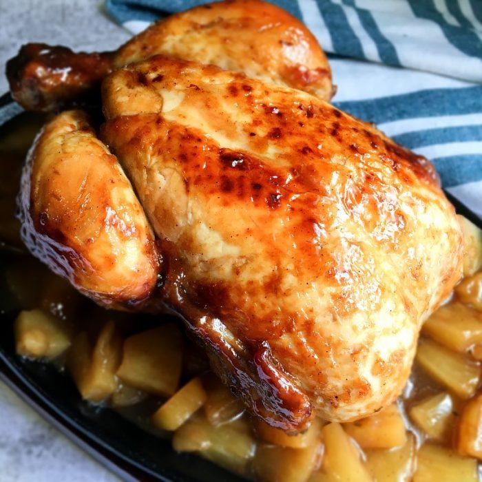 chicken hamonado on pineapple bits
