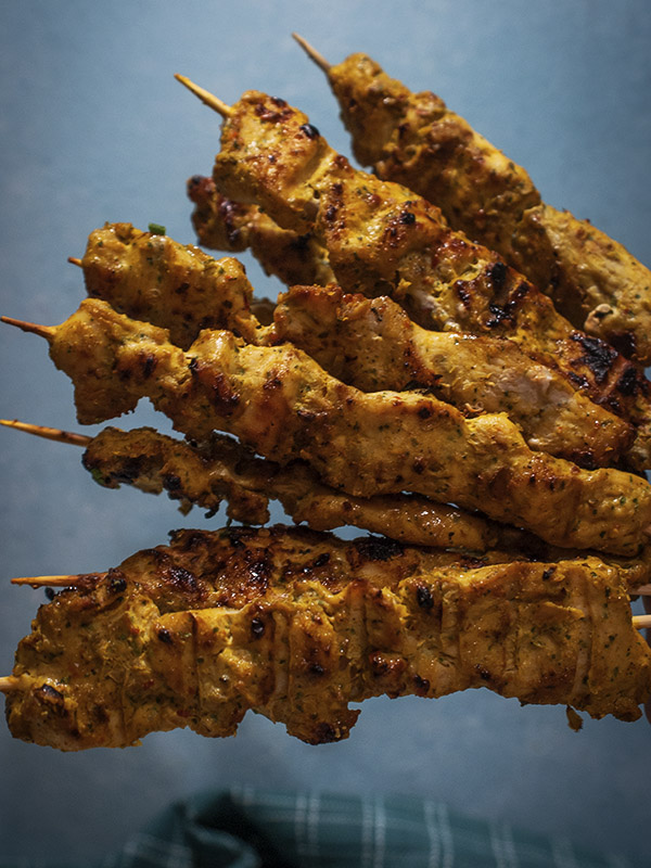 chicken skewers on bamboo sticks