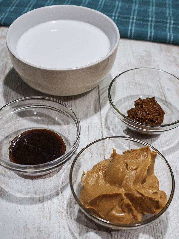 dipping sauce ingredients on top of table