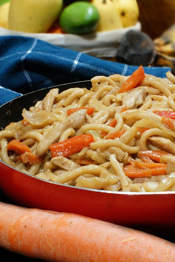 chicken udon with carrots and bell peppers