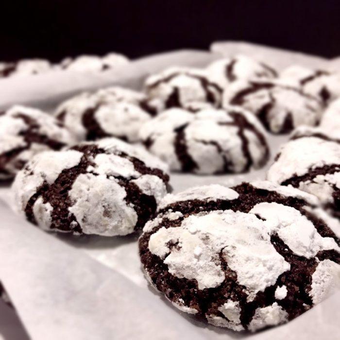 choco crinkles in baking pan