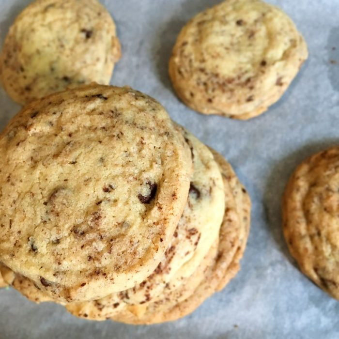 chocolate chip cookies on top of other cookies