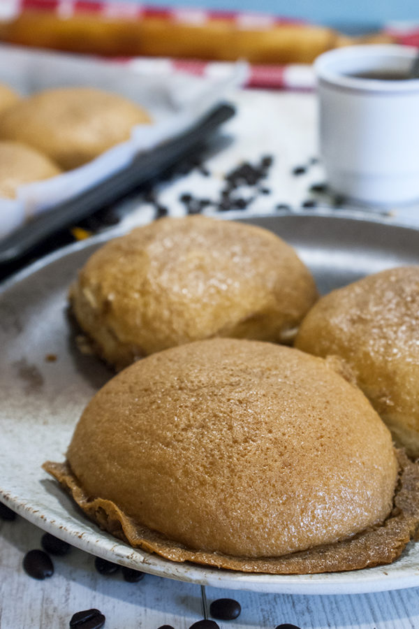 bread buns with coffee topping