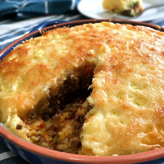 cottage pie sliced and served