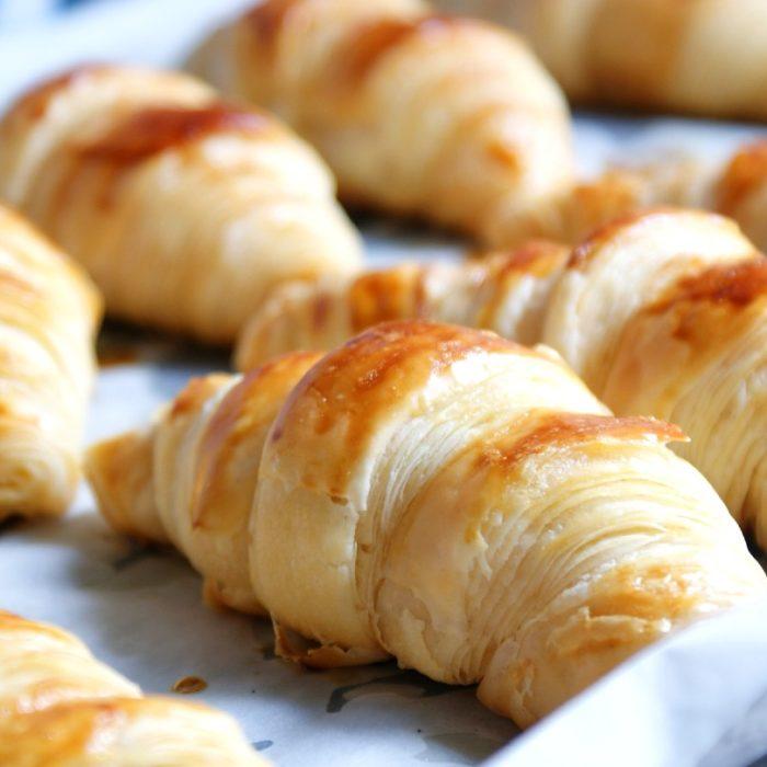 croissant on baking sheet