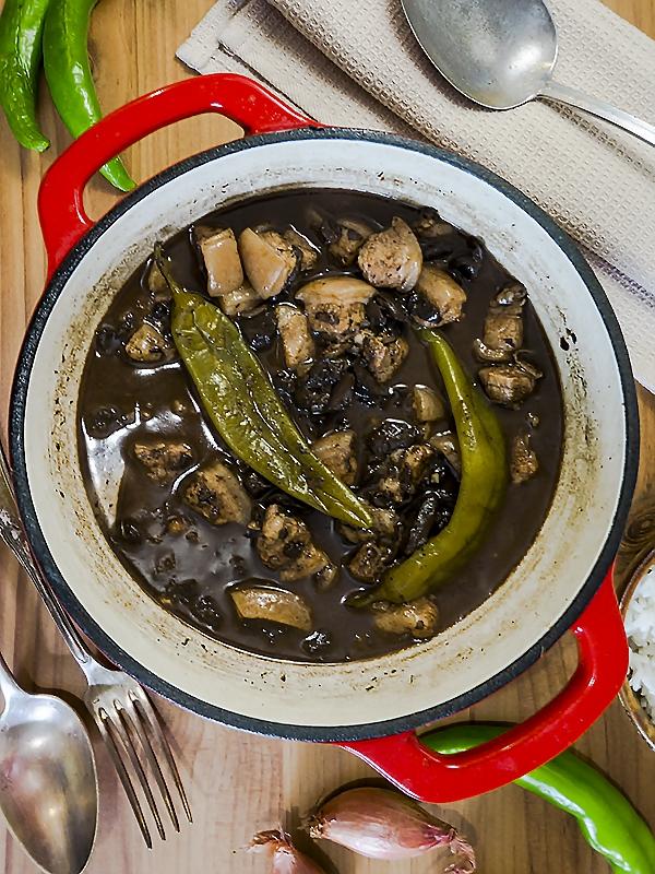 pork blood stew in a pot