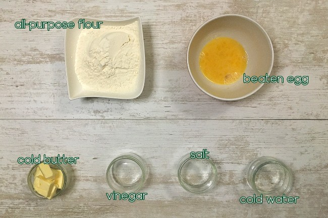 ingredients for making dough on top of table