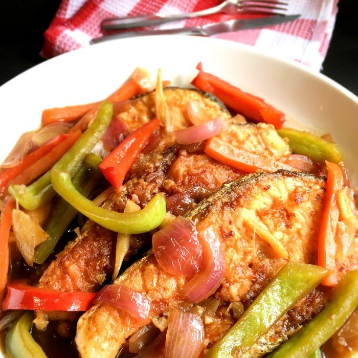 salmon escabeche with carrots and bell peppers