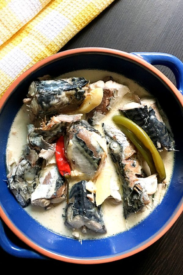 ginataang mackerel on table