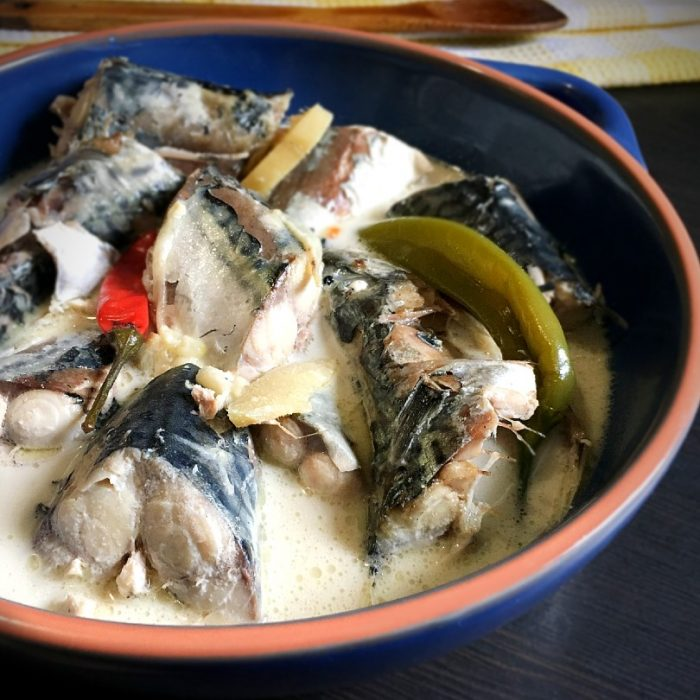 ginataang mackerel with chili peppers