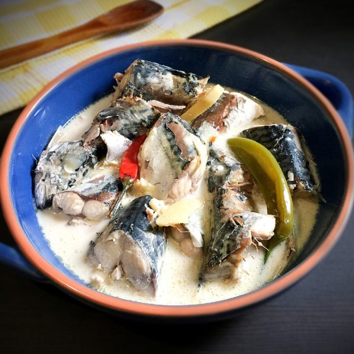 ginataang mackerel in a serving dish