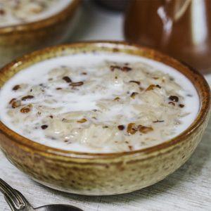 porridge in a bowl with cream