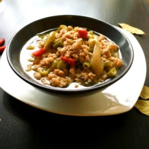 ground pork green beans
