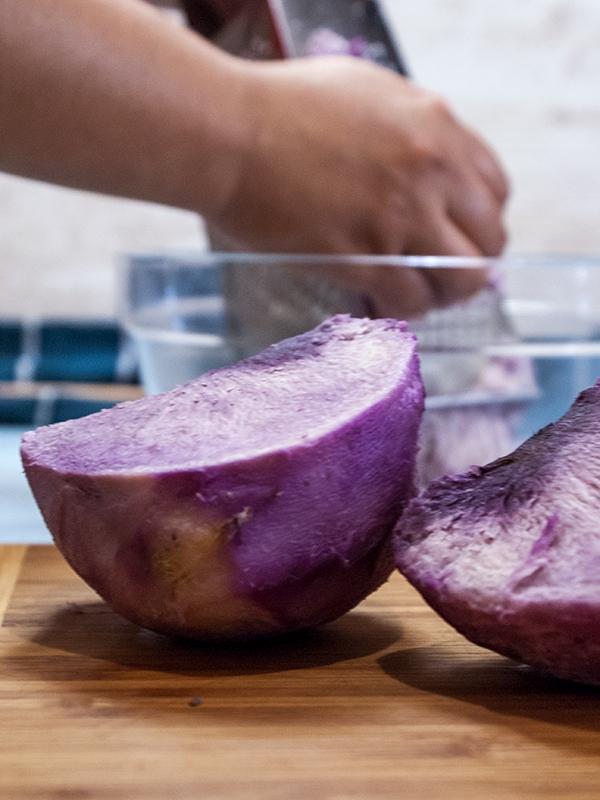 grating purple yam