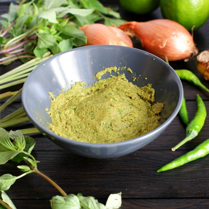 thai green curry paste in a bowl on table