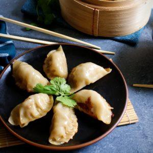 dumplings with chopsticks