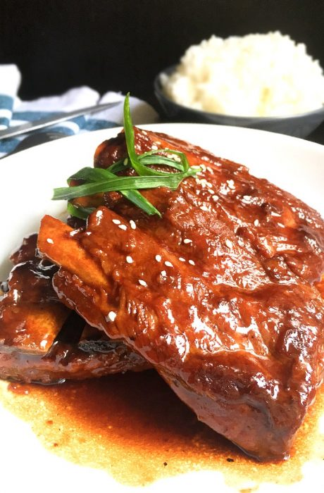 honey barbecue ribs on a dish
