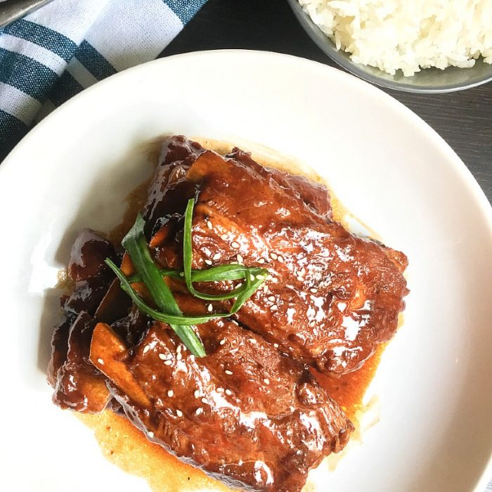honey barbecue ribs and rice