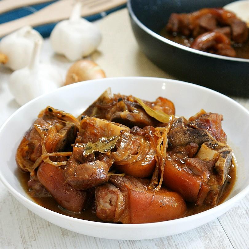 pork pata humba in a bowl