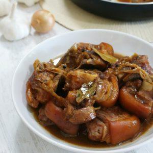 braised pork hock in a bowl