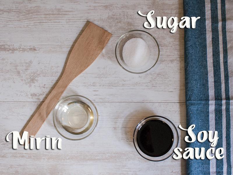 soy sauce, sugar and mirin