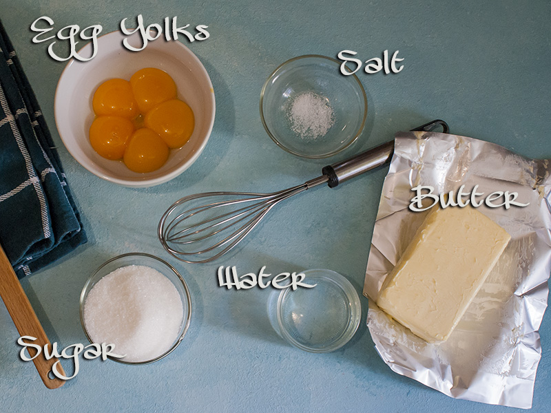 ingredients for buttercream on top of table