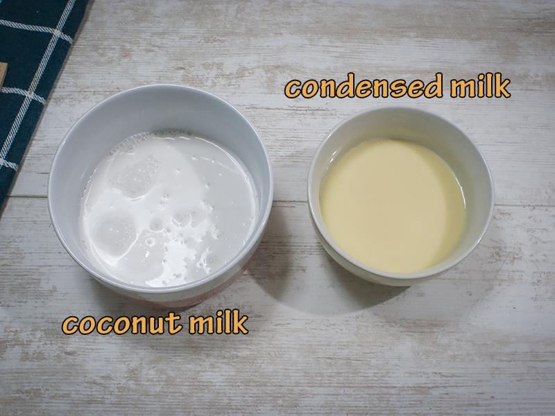 coconut milk, condensed milk